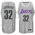 equipacion earvin johnson #32 los angeles lakers luces gris