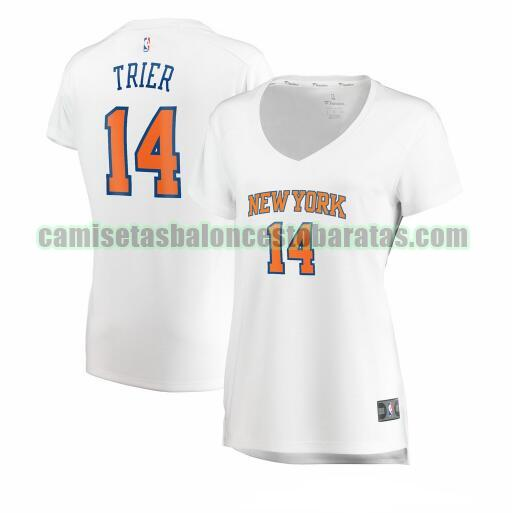 Camiseta Allonzo Trier 14 New York Knicks association edition Blanco Mujer