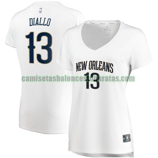 Camiseta Cheick Diallo 13 New Orleans Pelicans association edition Blanco Mujer
