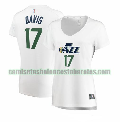 Camiseta Ed Davis 17 Utah Jazz association edition Blanco Mujer