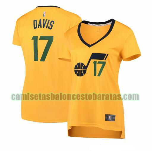 Camiseta Ed Davis 17 Utah Jazz statement edition Amarillo Mujer