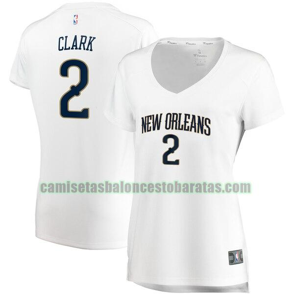 Camiseta Ian Clark 2 New Orleans Pelicans association edition Blanco Mujer
