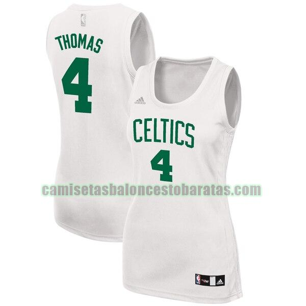 Camiseta Isaiah Thomas 4 Boston Celtics Réplica Blanco Mujer