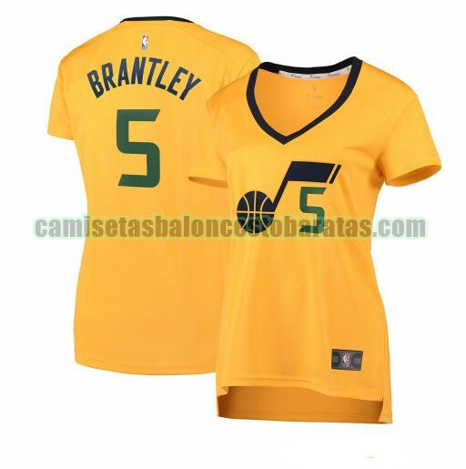 Camiseta Jarrell Brantley 5 Utah Jazz statement edition Amarillo Mujer