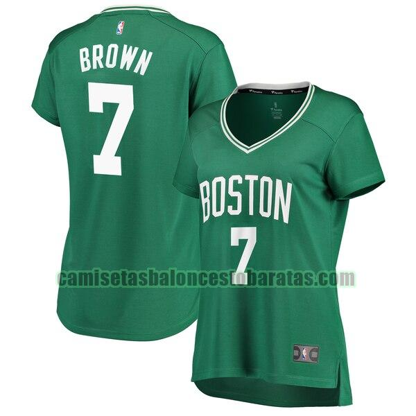 Camiseta Jaylen Brown 7 Boston Celtics icon edition Verde Mujer