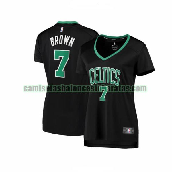 Camiseta Jaylen Brown 7 Boston Celtics statement edition Negro Mujer
