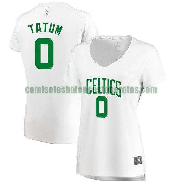 Camiseta Jayson Tatum 0 Boston Celtics association edition Blanco Mujer