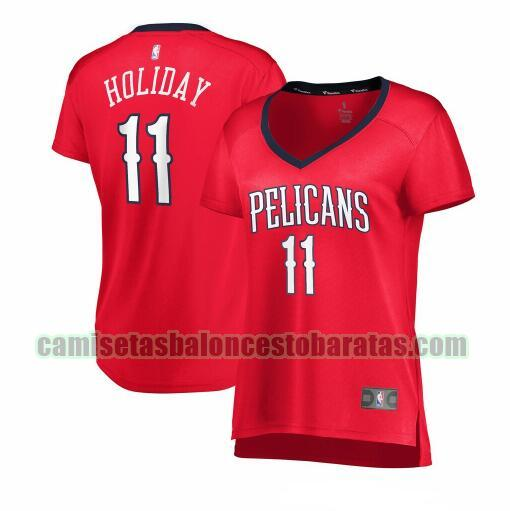 Camiseta Jrue Holiday 11 New Orleans Pelicans statement edition Rojo Mujer