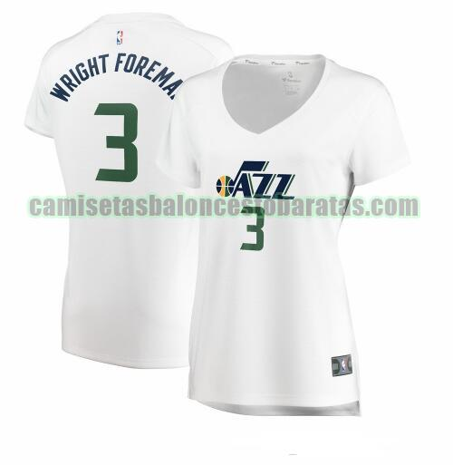 Camiseta Justin Wright-Foreman 3 Utah Jazz association edition Blanco Mujer
