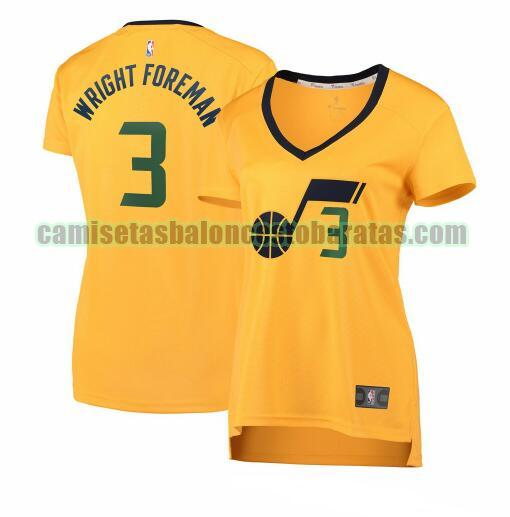 Camiseta Justin Wright-Foreman 3 Utah Jazz statement edition Amarillo Mujer
