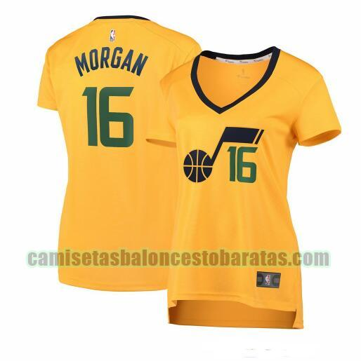Camiseta Juwan Morgan 16 Utah Jazz statement edition Amarillo Mujer