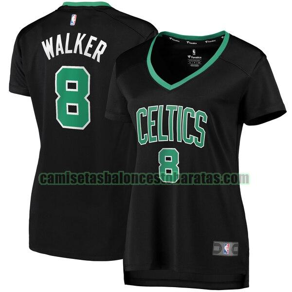 Camiseta Kemba Walker 8 Boston Celtics statement edition Negro Mujer