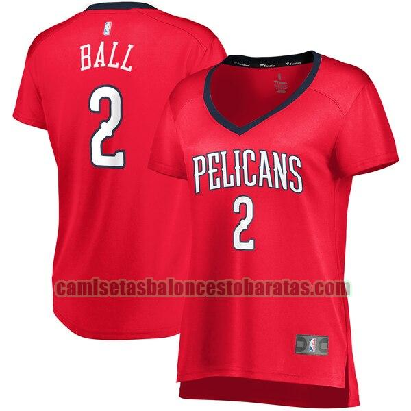 Camiseta Lonzo Ball 2 New Orleans Pelicans statement edition Rojo Mujer