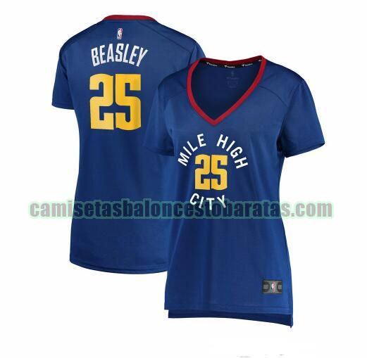 Camiseta Malik Beasley 25 Denver Nuggets statement edition Azul Mujer