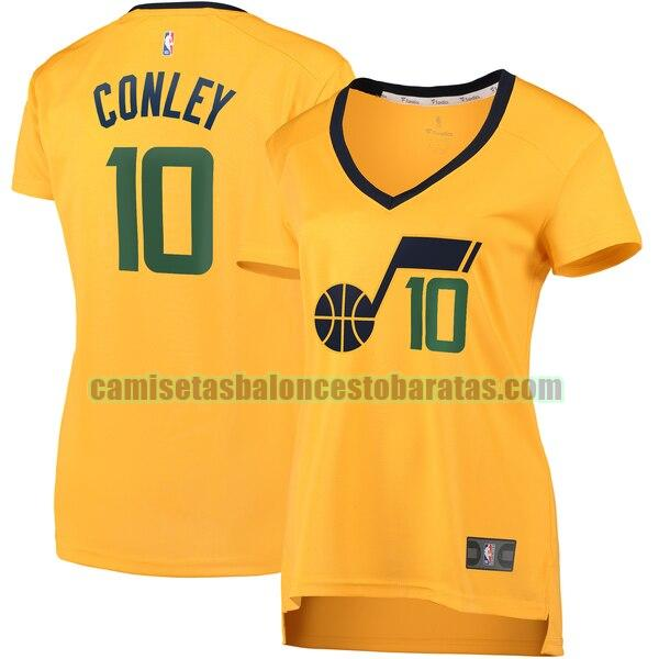 Camiseta Mike Conley 10 Utah Jazz statement edition Amarillo Mujer