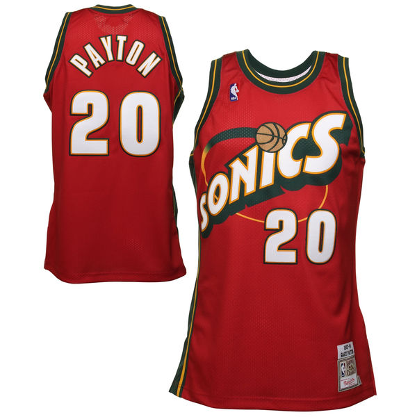 Camiseta NBA Gary Payton 20 1997-98 Seattle SuperSonics Roja