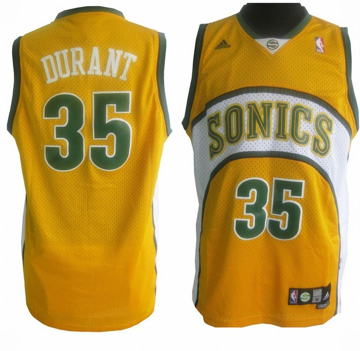 Camiseta NBA Kevin Durant 35 Seattle SuperSonics Retro Amarillo