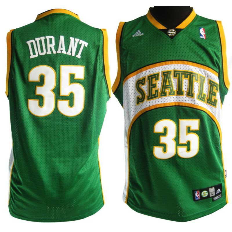 Camiseta NBA Kevin Durant 35 Seattle SuperSonics Retro Verde