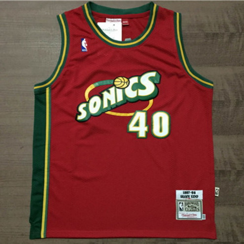 Camiseta NBA Shawn Kemp 40 1997-98 Seattle SuperSonics Roja