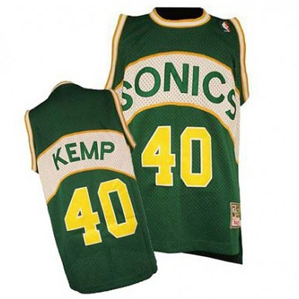 Camiseta NBA Shawn Kemp 40 Retro Seattle SuperSonics Verde