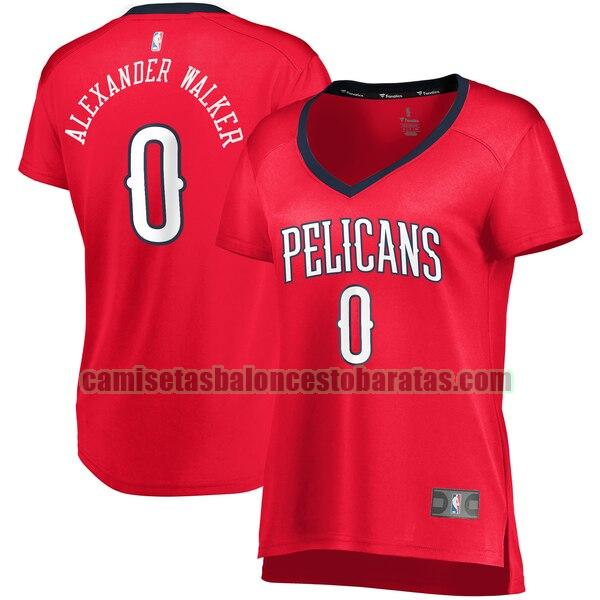 Camiseta Nickeil Alexander-Walker 0 New Orleans Pelicans statement edition Rojo Mujer
