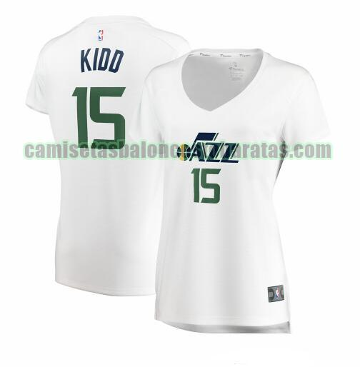 Camiseta Stanton Kidd 15 Utah Jazz association edition Blanco Mujer