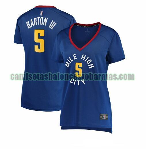 Camiseta Will Barton 5 Denver Nuggets statement edition Azul Mujer