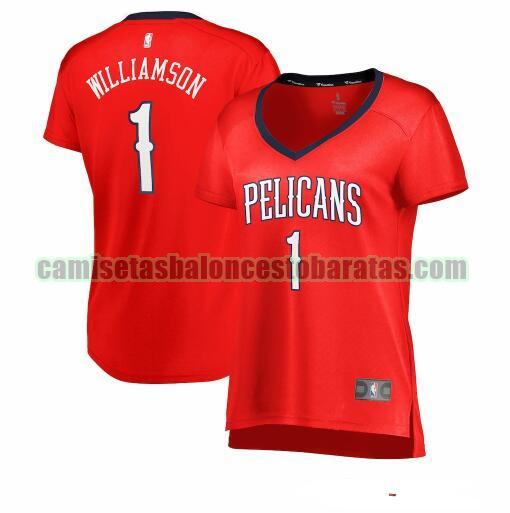 Camiseta Zion Williamson 1 New Orleans Pelicans statement edition Rojo Mujer