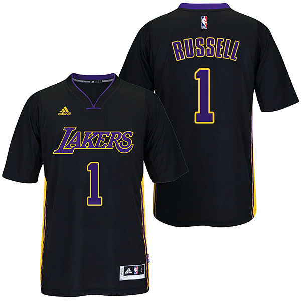 Camisetas baloncesto d'angelo Russell Número 1 los angeles lakers 2017 negro