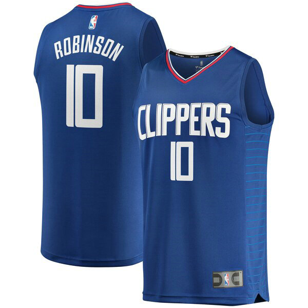 Camiseta Jerome Robinson 0 Los Angeles Clippers Icon Edition Azul Hombre