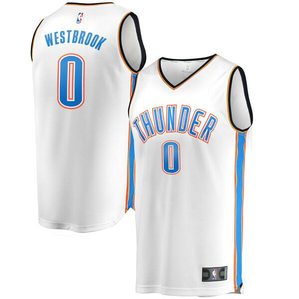 Camiseta Russell Westbrook 0 Oklahoma City Thunder Association Edition Blanco Hombre