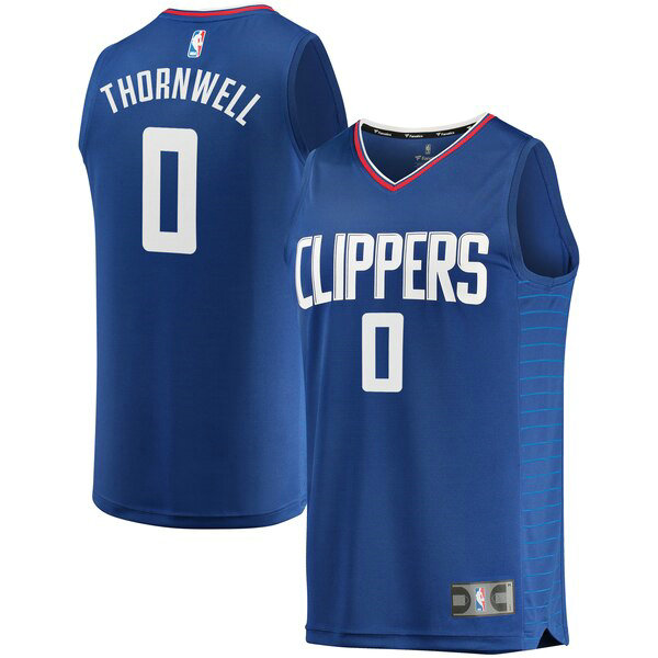 Camiseta Sindarius Thornwell 0 Los Angeles Clippers Icon Edition Azul Hombre