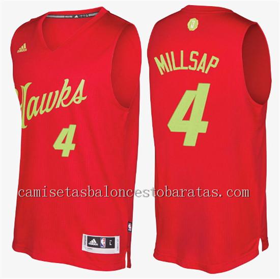 camiseta del atlanta hawks navidad 2016 paul millsap 4 roja