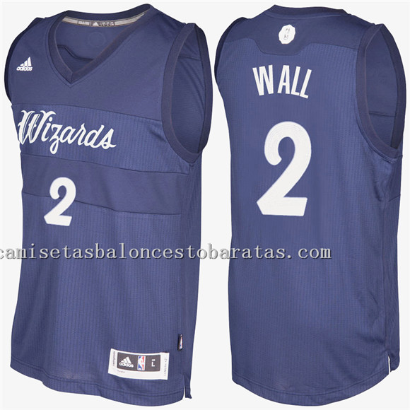 camiseta john wall 2 navidad 2016-2017 washington wizards azul