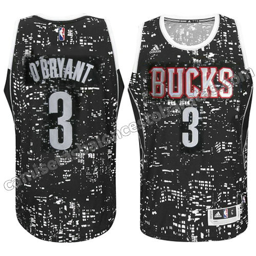 equipacion johny o'bryant #3 milwaukee bucks luces negro