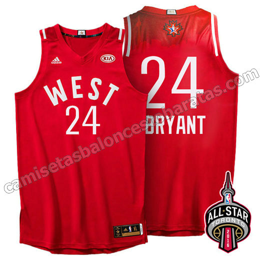 camisetas de baloncesto kobe bryant #24 nba all star 2016 roja