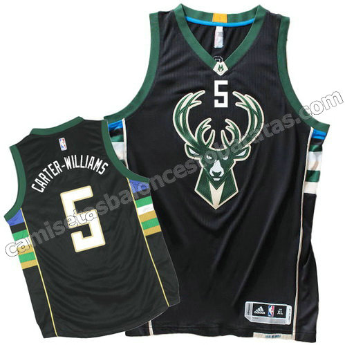 equipacion michael carter-williams #5 milwaukee bucks 2015-2016 negro