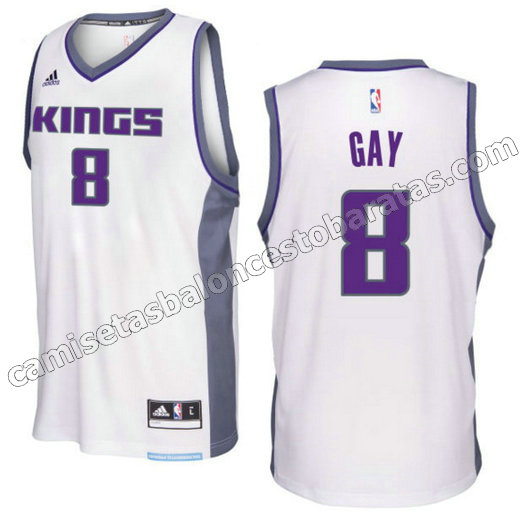 camiseta rudy gay 8 sacramento kings 2016-2017 blanca