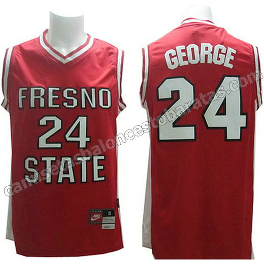 camisetas ncaa fresno state bulldogs paul george #24 roja