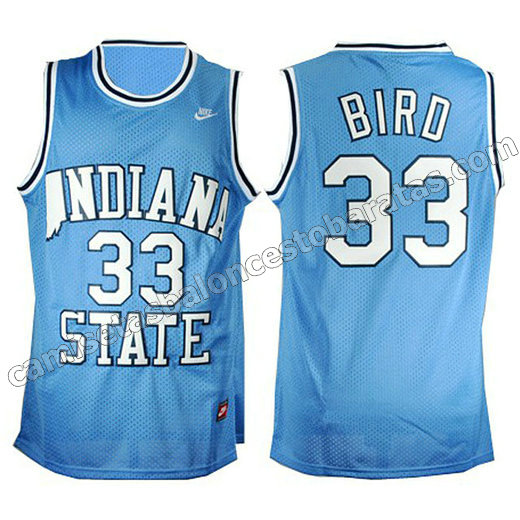 camisetas ncaa indiana state larry bird #33 azul