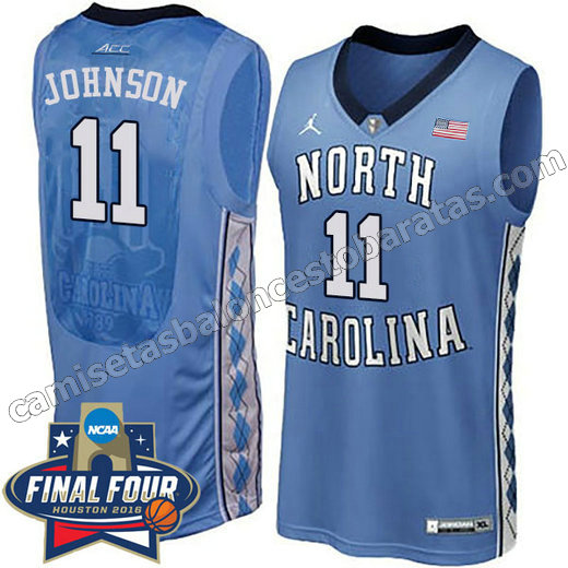 camisetas de ncaa north carolina tar heels brice johnson #11 azul