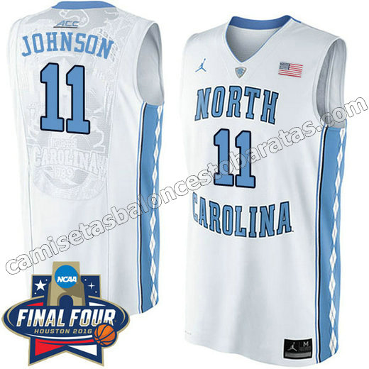 camisetas de ncaa north carolina tar heels brice johnson #11 blanca
