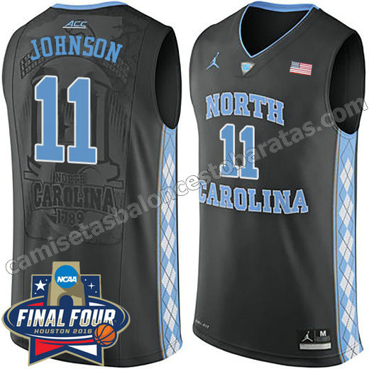 camisetas de ncaa north carolina tar heels brice johnson #11 negro