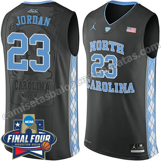 camisetas de ncaa north carolina tar heels michael jordan #23 negro
