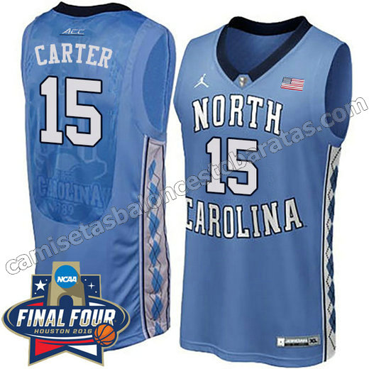 camisetas de ncaa north carolina tar heels vince carter #15 azul
