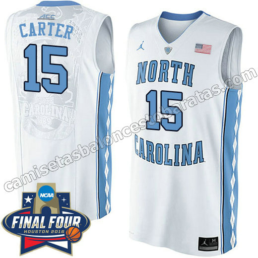 camisetas de ncaa north carolina tar heels vince carter #15 blanca