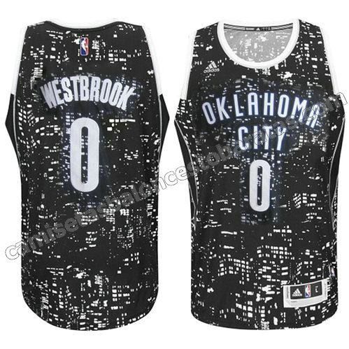 equipacion oklahoma city thunder con russell westbrook #0 luces negro
