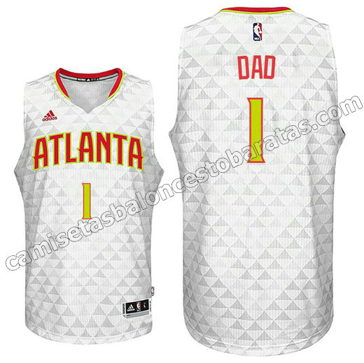 camiseta nba dad logo 1 atlanta hawks 2015-2016 blanca