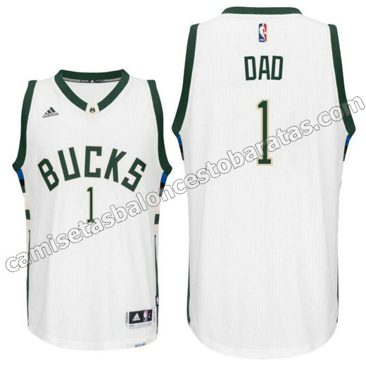 camisetas nba milwaukee buck 2016 con dad logo 1 blanca