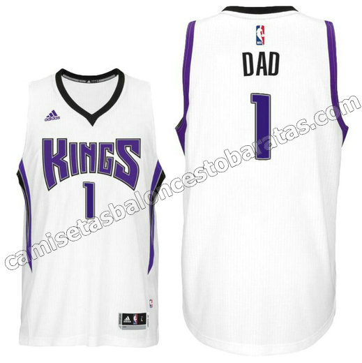 camisetas baloncesto dad logo 1 sacramento kings 2016 blanca